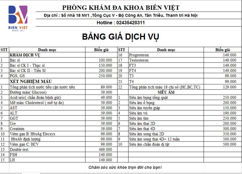 Bảng giá Dịch vụ tại Phòng khám đa khoa Biển Việt